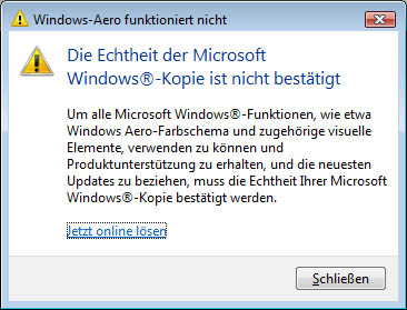 Windows Vista nicht aktiv?